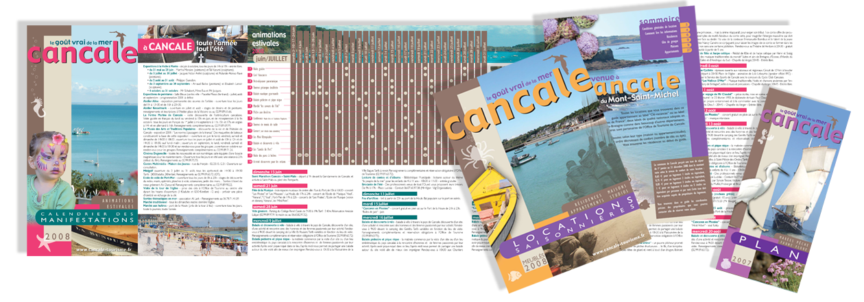 Supports imprimés pour l'office de Tourisme de Cancale, Bretagne. Plan, calendrier des manifestations, brochure hébergements