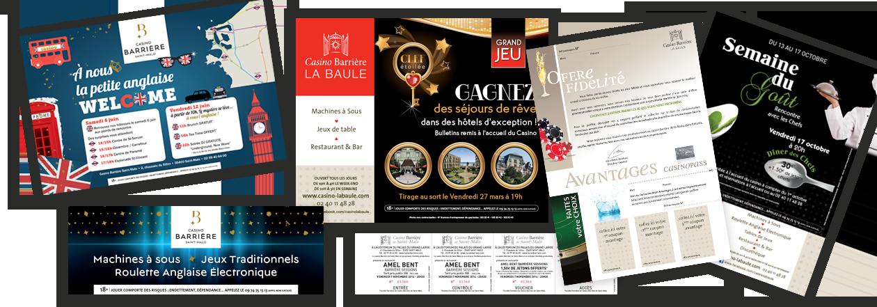 supports imprimés pour le Groupe Barrière Casinos Bretagne, Grand Ouest