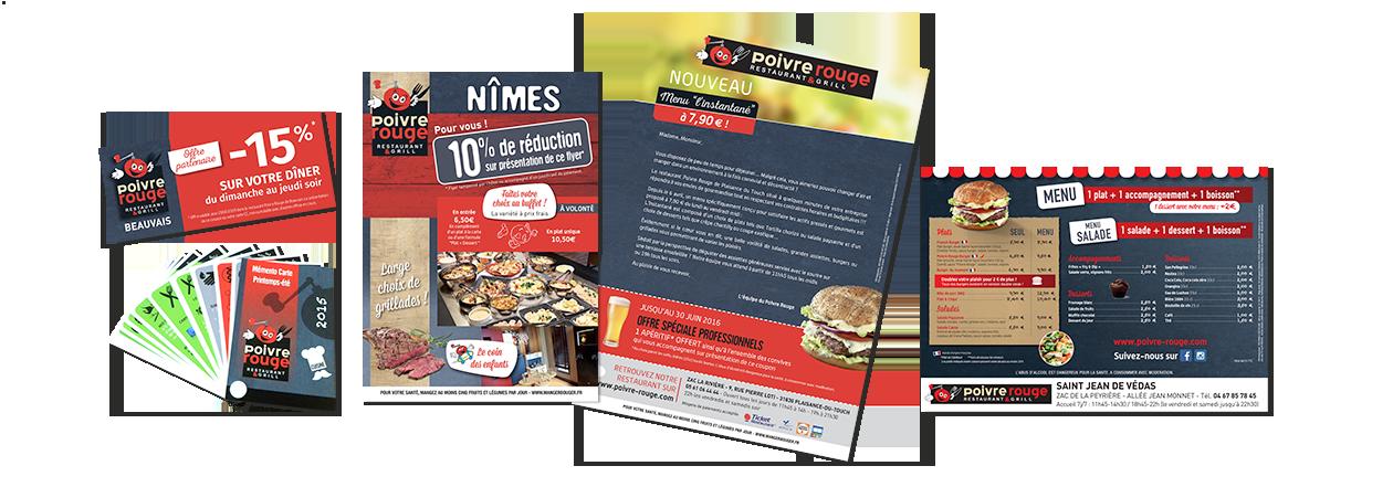 Supports imprimés pour les restaurants Poivre Rouge, affiche, mailing, vademecum, ticket réduction