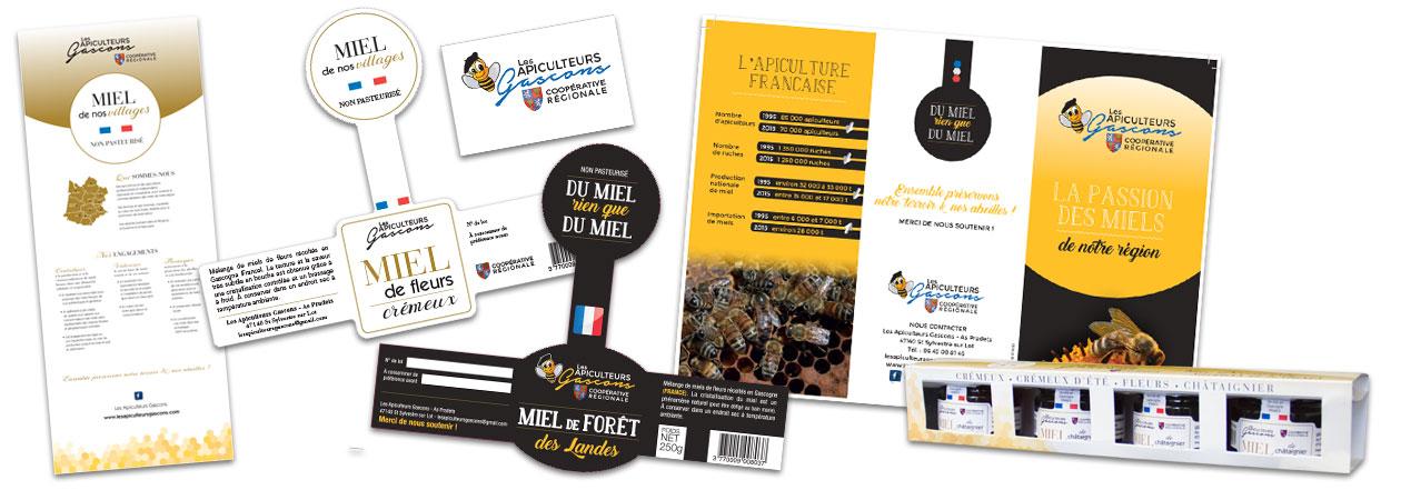 impression flyer étiquette pour produits de la ruche, apiculteurs gascons