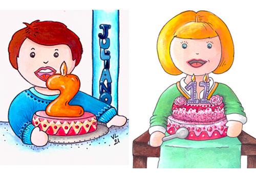 création originale illustration gouache ©Lesaché/ninipotes thème anniversaire