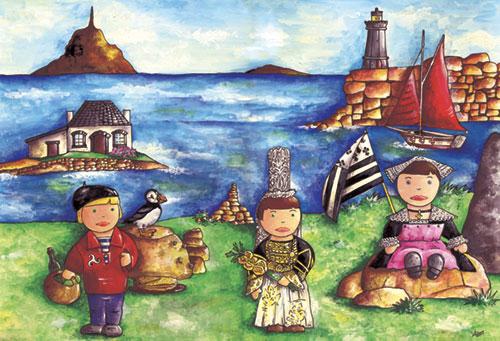 illustration originale Lesaché - gouache thème La Bretagne