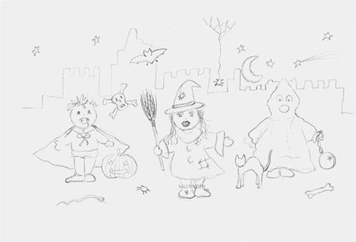 création originale illustration gouache ©Lesaché/ninipotes thème Halloween