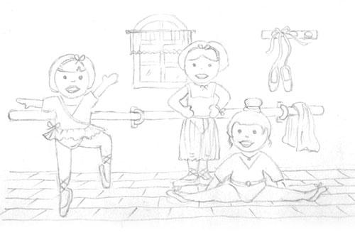 création originale illustration gouache ©Lesaché/ninipotes thème danse classique