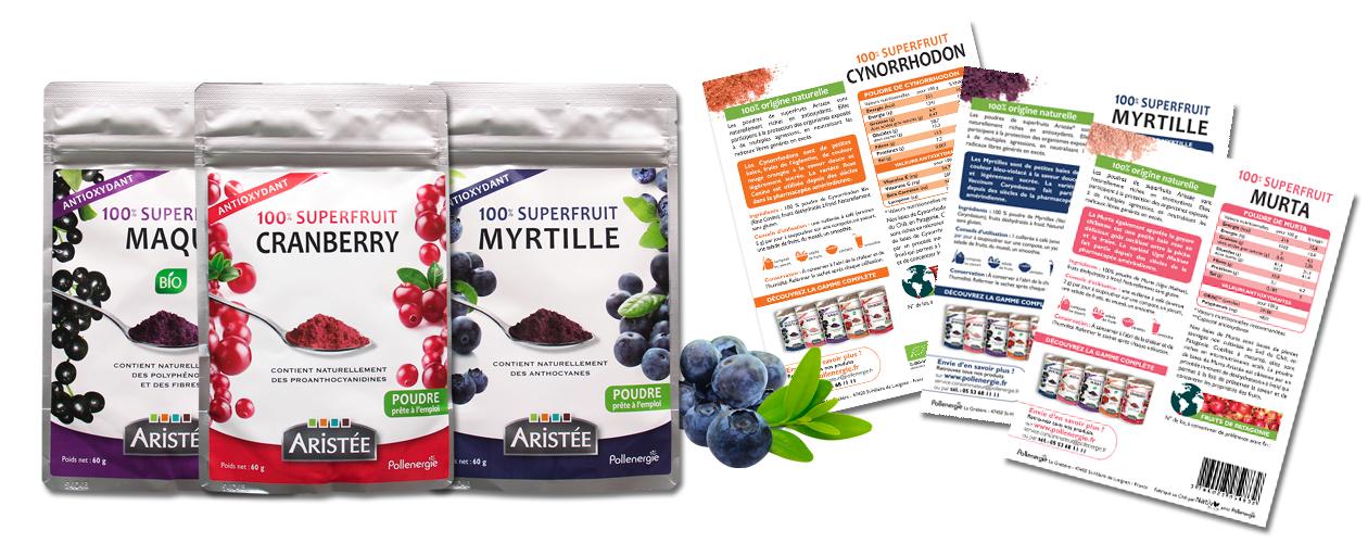 Gamme les superfruits, pollenergie, création d'étiquette produit